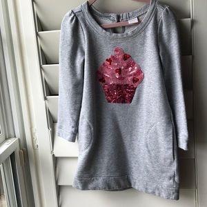 Gymboree sweatshirt dress sequin cupcake w pockets